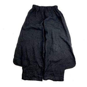 Gigi Moda Lagenlook High Waist Linen Pants Black S